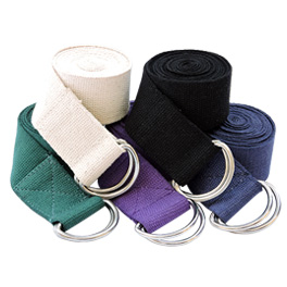Metal D ring Cotton Yoga Belt Straps 6 and 8 Foot.jpg