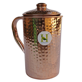 Pure Copper Hammered Water Jug  Copper Pitcher for Ayurveda Health Benefit.jpg