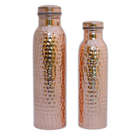 Set of Two Leak Proof Hammered Copper Water Bottles.jpg